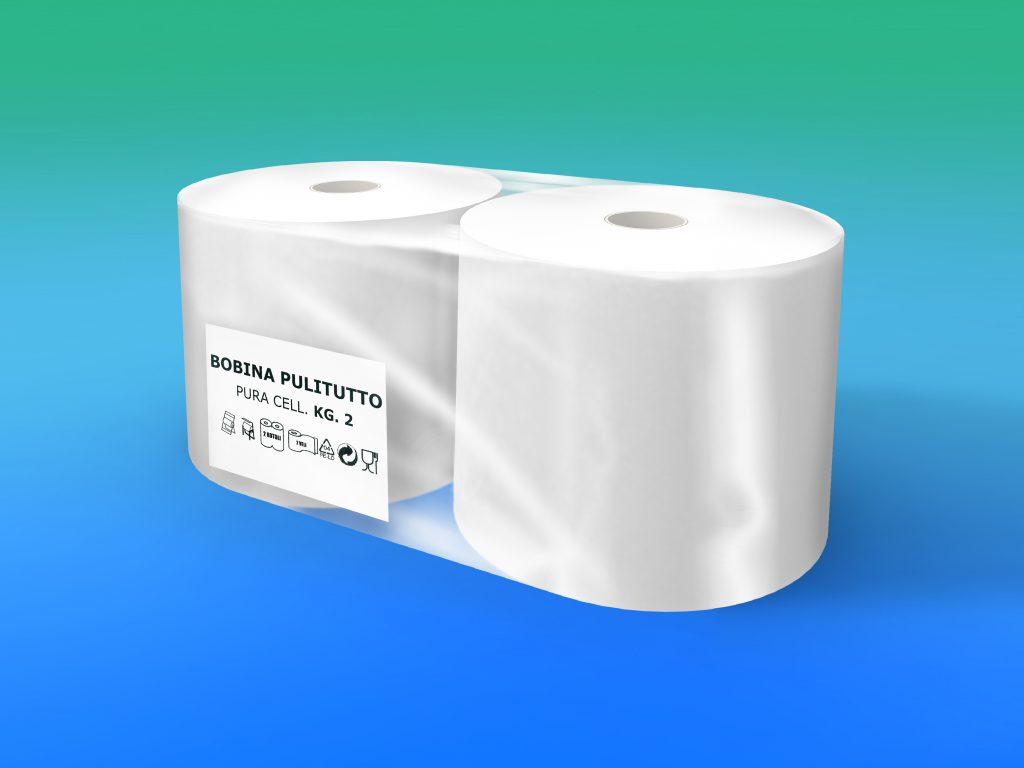 Bobina pura cellulosa, 2 veli kg 2 microincollata